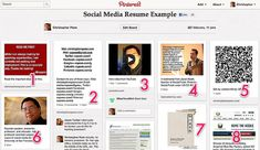 8 tips for a Pinterest social media resume | Last night in preparation for my USF Advanced Social Media Class, I put together an idea fairly quickly that got a lot of attention and reaction: a social media resume example for my students on Pinterest. Pinterest's unique way of displaying content means it's exceptionally good at conveying information visually in a very compact way.