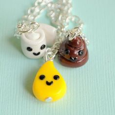 Handmade Toilet Paper, Pee Drop and Poop Three-Way Best Friend Necklaces ... $39.99 at AlwaysFits.com