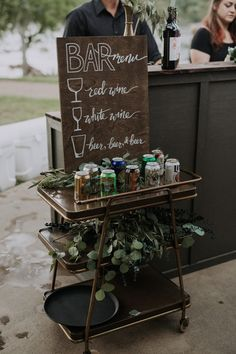 Olivette was the Perfect Venue for This DIY Woodsy Asheville Wedding Cute wooden bar menu fittingly sitting atop a bar cart Wedding Signage, Wedding Menu, Wedding Events, Our Wedding, Diy Wedding Open Bar, Bar Wedding Ideas, Wedding Bar Signs, Diy Wedding Food, Dessert Bar Wedding