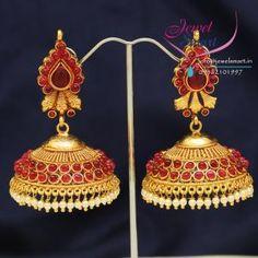 South_Indian_Fashion_Traditional_Kempu_Temple_Stones_Jhumka_Earrings