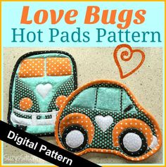 Name: 'Sewing : Love Bugs Hot Pads Pattern Potholder Patterns, Mug Rug Patterns, Easy Quilt Patterns, Pattern Blocks, Quilting Projects, Sewing Projects, Quilting Ideas, Quilted Potholders, Quilted Coasters
