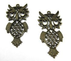 2pcs vintage style bronze color owl pendant earring DIY by eSupply, $3.50