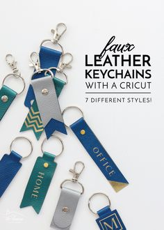Keychains With a Cricut - Not only do these keychains look ah-mazing, but they couldn't be any easier (most come together in mere minutes!). I have 7 different styles to share with you today, and after you see how these come together, I just know you'll be running to make a whole collection for yourself, friends and family too! Keychain Design, Diy Keychain, Diy Leather Keychain, Diy Leather Gifts, Leather Crafts, Diy Leather Labels, Keychains, Silhouette Cameo 4, Diy Leather Projects