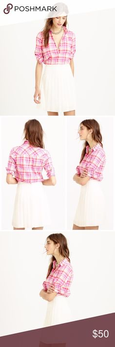 J. CREW Boy Shirt Pink Crinkle Plaid Button Down $78 J. CREW Boy Shirt Pink Crinkle Plaid Button Down Shirt Sz 6  Now with a centered back seam (so it'll fit you better) and details taken from classic men's shirting (so he can have his back), the shirt you know and love is better than ever. We developed the yarn dye for this one in-house and made it in the perfect rumpled plaid with a crinkled texture—so basically, you won't be able to stop touching it.  Cotton. Long roll-up sleeves. Button…