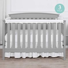 100/% Cotton Fabrics Solid White 2-Pack Side Crib Rail Guard Padded Protectors