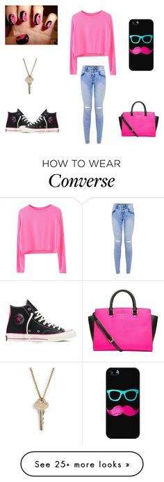 """Pink and black"" by annaliese-ri on Polyvore featuring moda, Converse, The Giving Keys, Casetify ve MICHAEL Michael Kors"