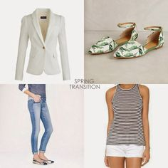 an outfit for this tricky spring transition time: jcrew blazer, jcrew jeans, jasper & jeera flats + enza costa tank