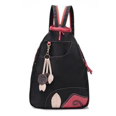 Women Casual Nylon Large Capacity Flower Pendant Shoulder Bags Backpack
