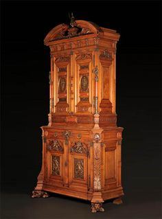 Which famous #NeoRenaissance style #cabinetmaker made this #WorkOfArt ? Find out on the blog Renaissance Fashion, Champs Elysees, Cabinet Makers, Dark Wood, Woods, Louvre, Architecture, Antiques, Artwork