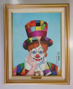 """RED SKELTON LITHOGRAPH PAINTING, """"CRAZY QUILT CLOWN"""", NUMBERED & SIGNED w/ COA"""