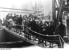 "Young Jewish girls and teenagers arrive through the ""kindertransport"" at the Port of London in February, 1939. England agreed to accept the children in the weeks after Kristallnacht, a massive, coordinated attack by Nazis and mobs throughout Germany on the night of Nov. 9, 1938."
