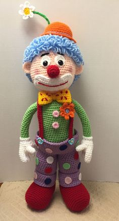 Hey Can You Crochet Me A.Arlo the clown - Tx Dixie Hey Can You Crochet Me A.Arlo the clown I can't resist a clown, I purchased this pattern on Ravelry and I had to make him right away Crochet Amigurumi, Crochet Bear, Crochet Doll Pattern, Cute Crochet, Amigurumi Patterns, Amigurumi Doll, Crochet For Kids, Crochet Crafts, Doll Patterns