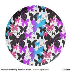 Rainbow Butterfly Abstract Modern Art Plates