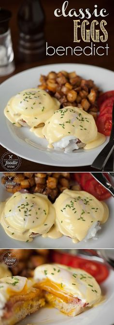 Brunch Recipes Making a delicious Classic Eggs Benedict breakfast at home is much easier than y. Breakfast Desayunos, Breakfast Dishes, Breakfast Recipes With Eggs, Meals With Eggs, Yummy Breakfast Ideas, Frozen Breakfast, Delicious Breakfast Recipes, Breakfast Sandwiches, Comida Diy