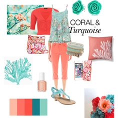 Coral & turqoise by thefrugal-fashionista on Polyvore featuring polyvore, fashion, style, M&Co, St. John's Bay, Wet Seal, Vera Bradley, Bling Jewelry, ALDO, Essie, coral, turquoise, springtrend, coralandturquoise and springsummer2015