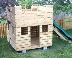 Fun Fortress Playhouse Plan - Lacey Sutherland - Fun Fortress Playhouse Plan small wooden castle playhouse w/ slide and gang plank - Castle Playhouse, Pallet Playhouse, Backyard Playhouse, Build A Playhouse, Playhouse Ideas, Cedar Playhouse, Childrens Playhouse, Pallet Patio, Diy Pallet