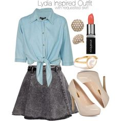 """Lydia Inspired Outfit with Requested Skirt"" by veterization on Polyvore"