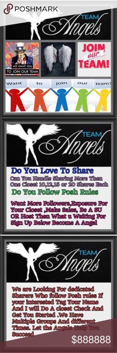 😇JOIN OUR TEAM & BECOME A ANGEL TODAY 😇 If you love sharing, then the Angels are the team for you. We have 7 daily share parties. Our Main goal is to help each other Succeed and Make new friends. Some of our angels have become SU and Hosted A Party . Are you next , Do you have what it takes to be a angel?  ( Yes You Do) Ask me How Today!!! Bellanblue Bags