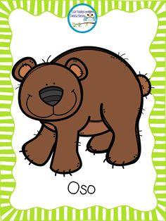 Dj Inkers, Bear Theme, Spanish Vocabulary, Cute Animals, Animals And Pets, Colouring Pics, Classroom Rules, School Posters, Cartoon Pics