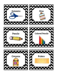 52 Black Chevron Supply Labels - Super cute for use around the classroom!  Words plus a picture!  Great for non-readers.