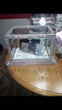 """Items similar to Name """"Serendipity"""" BLING** display box on Etsy Bling Wedding Decorations, Picture Wedding Centerpieces, Diy Storage Boxes, Display Boxes, Wine Glass Designs, Gift Card Boxes, Diy Sofa, Diy Home Crafts, Crafty Craft"""