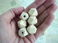 Geometric Wooden Beads  Natural  16mm  Pack of 10 by heartsupplies