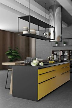 Black and orange or yellow kitchen by Pavel Vetrov designer