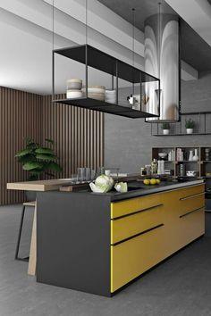 Black and orange or yellow kitchen by Pavel Vetrov designer