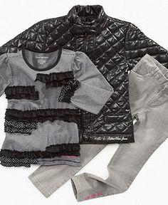 Calvin Klein Jeans Kids Set, Little Girls Puffer Jacket, Shirt and Leggings - Kids Girls 2-6X - Macy's