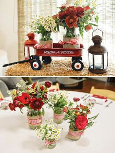Love the wagon, flowers in mason jars, and lanterns for decor!!