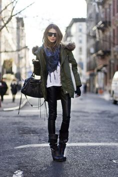 Leather + Army Green
