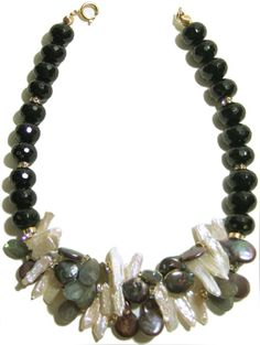 Helga Wagner Facted Onyx with dark gray Fresh Water Coins and Fresh Water Pearl sticks and Diamante Rondells.