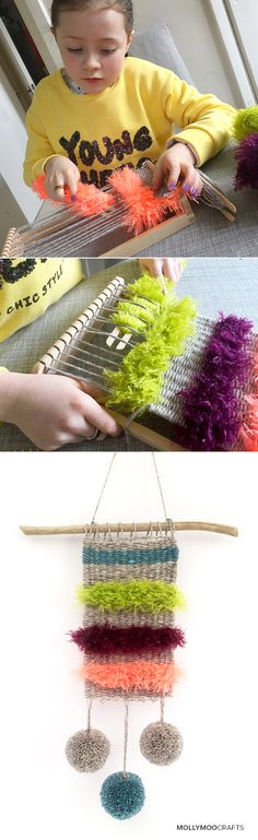 Simple Weaving For Kids - Miss8 tried weaving for the first time yesterday and loved it, she can't wait to do more. See the fun on MollyMooCrafts.com
