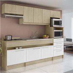 Cozinha Completa Compacta Decibal Open 6 Peças: Armário Gaveteiro para Forno e Micro, Balcão Pia, Balcão Cooktop, Armário Aéreo, Armário Aéreo Depurad