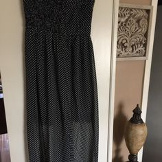 """New item-polka dot Chiffon dress...stunning Polka dot chiffon dress...size is medium .. Dress has a front maxi drape and a 24"""" dress with lace bottom combined in one....strapless ... 5"""" rear zipper... Really nice item!!! Lovepoint Dresses Maxi"""