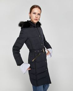 Image 4 of DOWN PUFFER COAT WITH BELT from Zara