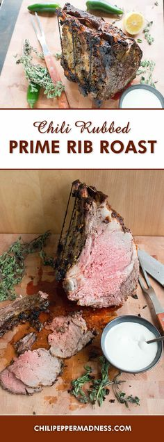 Chili Rubbed Prime Rib Roast with Horseradish Cream Sauce - The perfect recipe for standing prime rib roast rubbed with seasoned chili paste, oven roasted, and served with a bold horseradish cream sauce. This is the ultimate holiday or dinner party meal.
