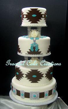Country Wedding Cakes Elegant Navajo Wedding Cake on Cake Central Western Wedding Cakes, Western Cakes, Country Wedding Cakes, Cool Wedding Cakes, Elegant Wedding Cakes, Elegant Cakes, Wedding Cake Designs, Wedding Cake Toppers, Wedding Ideas