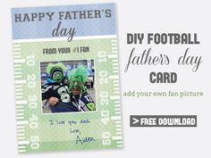 Free printable Father's Day card for your football loving Dad! Add your own fan picture in MS Word, and with type or hand write words of endearment Diy Gifts For Dad, Diy Father's Day Gifts, Father's Day Diy, Gifts For Father, Father's Day Printable, Free Printables, Free Printable Wedding Invitations, Free Football, Love You Dad