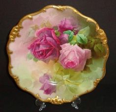 ANTIQUE ROYAL DOULTON PLATE 19th C PORCELAIN HAND PAINTED ROSES SIGNED RARE 1897