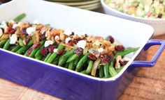 brown sugar glazed green beans with caramelized onions, cranberries, walnuts, and goat cheese - greens & chocolate
