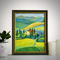 """Original Landscape Painting, """"Tuscany"""" Acrylic Painting, Landscape Art, Original Artwork, Wall Art Canvas, 30cm(w) x 40cm(h) by AngelinaRunkovaArt on Etsy"""