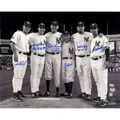 Final Game at Yankee Stadium Perfect Game Battery Mates Signed Metallic BW 16x20 Photo w PG Insc (MLB Auth) (6 Signatures)