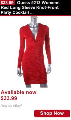 Women clothing: Guess 5213 Womens Red Long Sleeve Knot-Front Party Cocktail Dress S Bhfo BUY IT NOW ONLY: $33.99