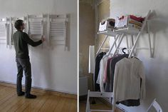 12 Cool Things You Can Do With Old Stuff - Awesome idea for the laundry room! When the chairs are not in use, just fold-em up!