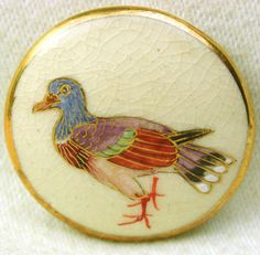 """Vintage Satsuma Button Hand Painted Colorful Bird w/ Gold Accents -1 & 3/16"""""""