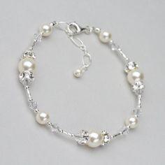 Artículos similares a Perla y pulsera de cristal, joyería de Swarovski de la boda para la novia, de perlas joyería nupcial, boda pulsera, pulsera de perlas blanca o marfil en Etsy