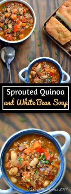 Sprouted Quinoa and White Bean Soup { Vegan } A big bowl of this tangy, filling soup with a lot of texture is all you need as your comfort food this winter!