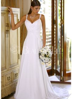 V-Neck Straps Satin A-Line Wedding Dress With Appliques PRICE: $458.99 $126.49    http://websites-buy.com/what-a-beautiful-life-special-clothing-store