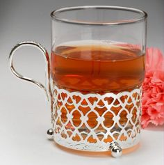 Moroccan style Tea Glass and Silver Plated holder, with special tarnish resistant finish that never needs polishing @ Tea Sets Vintage, Vintage Teapots, Tea Glasses, Hot Toddy, China Tea Sets, Christmas Gifts For Him, Plate Holder, Glass Holders, Moroccan Style